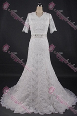 China wedding dresses manufacturer half sleeve lace mermaid wedding gown