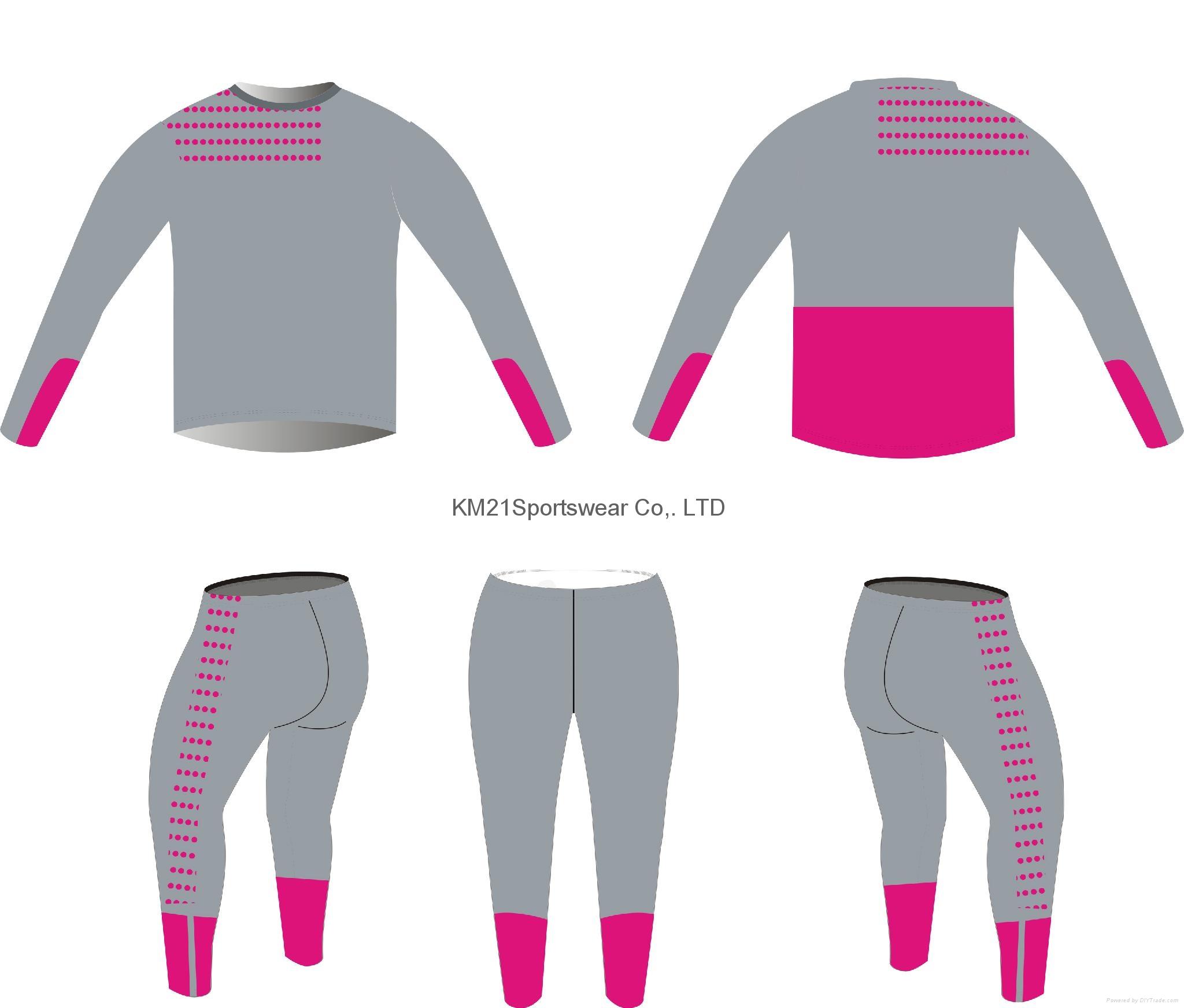 Pink women Full sleeve running wears 2015 bodybuilding wear slim fit running wea 1