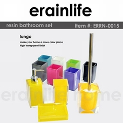 transparent poly resin bathroom accessory set