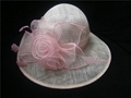 Pink sinamay bride wedding hat
