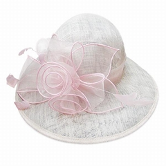 Pink sinamay bride wedding hat