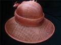 Red sinamay church wedding fascinator hat