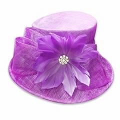 Purple sinamay fascinator hat