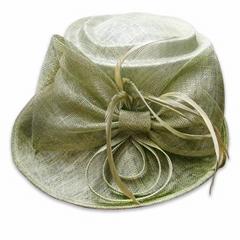 Green sinamay church elegant facinator hat
