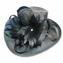 Elegant black church hat,dress fascinator hat