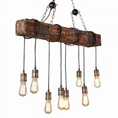 Retro vintage chandelier long wood lighting pendant lamp