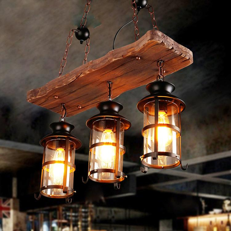Wood board Chandelier & pendant lights vintage hanging light 3