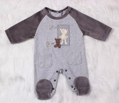 Lovely Bear baby boy Long Sleeve Romper with feet