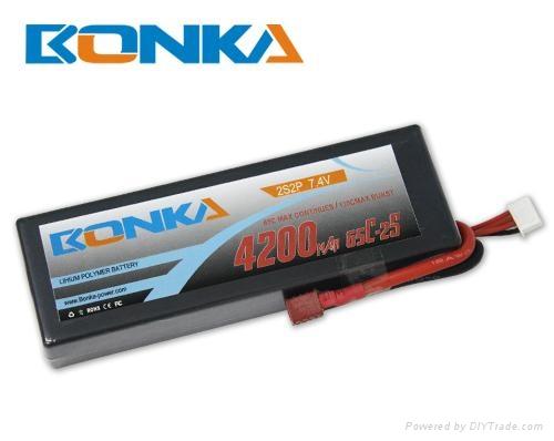 Bonka-4200mah-2S2P-65C RC car lipo battery 1