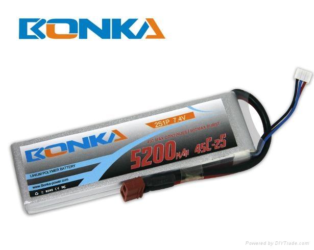 Bonka-5200mah-2S1P-45C rc heli lipo battery 1