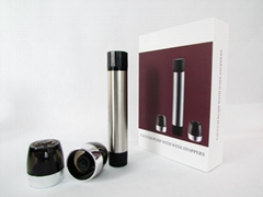 Stainless steel Wine vacuum pump with 2 bottle stoppers