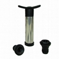 Stainless steel Wine vacuum pump with 2 bottle stoppers 1