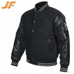 Varsity jacket with leather sleeves