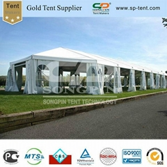 20x50m clear span marquee with Twin 5m pagoda tents
