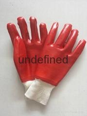 紅色耐油PVC勞保手套