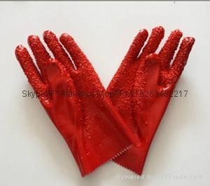 Red Open cuff Chip palm pvc gloves 1
