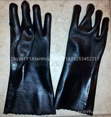 Black sandy finished industrial pvc safety gloves
