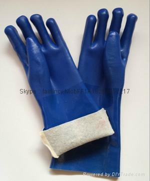 Blue sandy finished Jersey liner pvc gloves 1