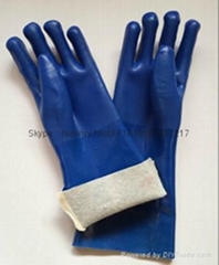 Blue sandy finished Jersey liner pvc gloves