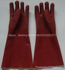 Brown sandy finished Jersey liner pvc gloves