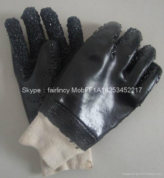 Black knit wrist Chip palm pvc gloves 1