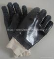 Black knit wrist Chip palm pvc gloves