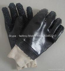 羅口黑色顆粒手套