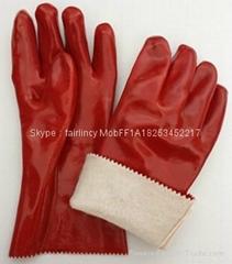 27cm光面絨布里PVC手套