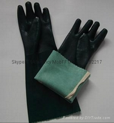 "18""  green arm length pvc safety gloves"