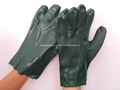 Elbow length green pvc safety gloves