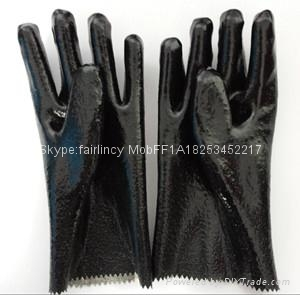 Rough finished open cuff pvc gloves 1