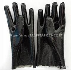 毛面短款開口PVC手套