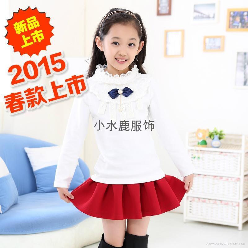 2015春款童裝中大童純棉T卹  1