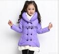冬款童装女童加厚双排扣棉外套