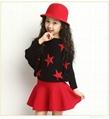 秋冬款女童星星针织蝙蝠袖毛衣