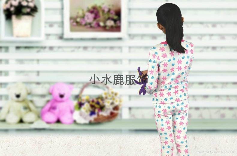 秋冬儿童保暖不倒绒加厚女童内衣套装 2