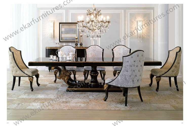 Giltwood europen antique style big square baroque wood for Baroque dining table set