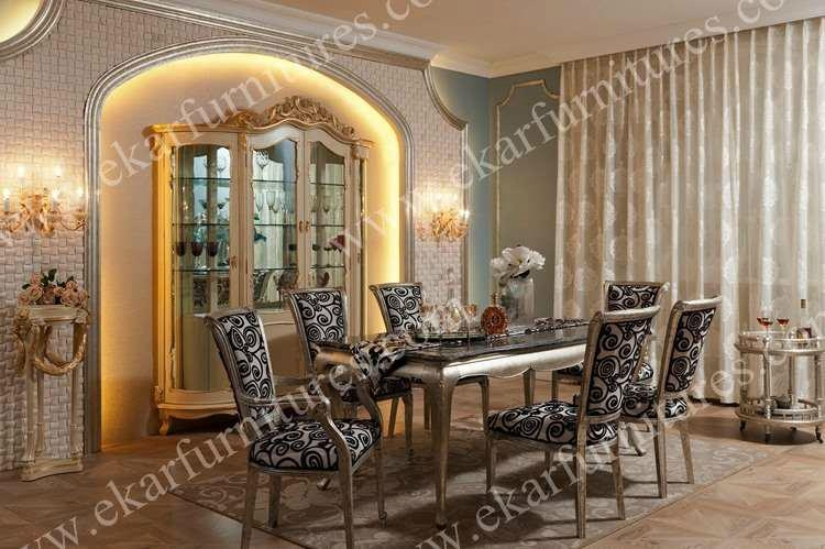Dragon Mart Dubai 6 Seater Dining Table Set Marble Top 1