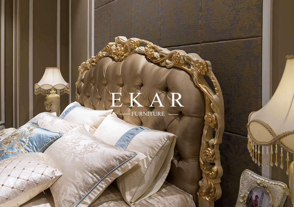 Italian leather bed Latest Wooden Furniture Designs Antique Carved Bed room bed  2