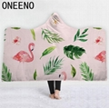 Flamingo Printed Warm Winter Coral Fleece Fabric Cloak Blanket With Hooded 1