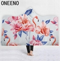 Flamingo Printed Warm Winter Coral Fleece Fabric Cloak Blanket With Hooded 4
