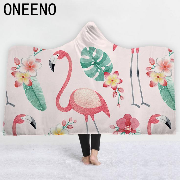 Flamingo Printed Warm Winter Coral Fleece Fabric Cloak Blanket With Hooded 5