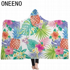 Super Soft Tropical Plants Patterns Wearable Thick Fleece Cloak hooded Blanket