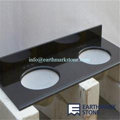 Absolute Black Granite Bathroom Vanity Top With Double Ceramic Bowls