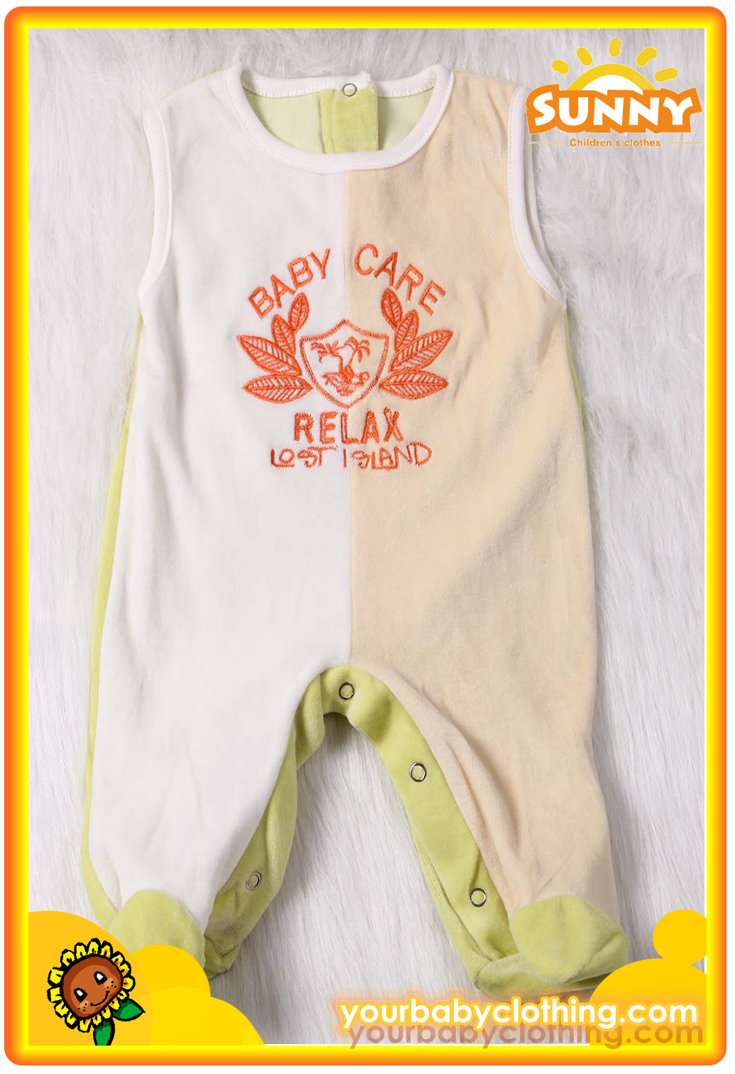 Warm Sleeveless Ve  et Baby Romper With Feet 1