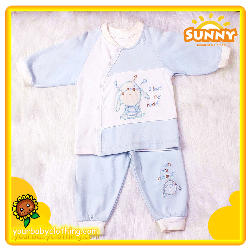 New Born Baby Spliced Cotton Pajamas 2pc 1