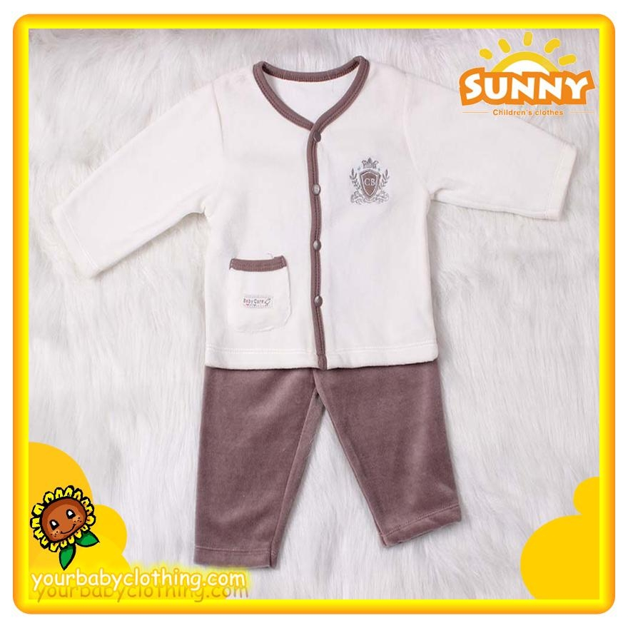 Pleasant Baby boy velvet clothing set casual spring and autumn clothing set 5