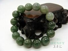 Certified Natural Grade A Burmese Emerald Ice Jadeite 15-bead  Bracelets 55.26 g