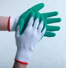 10针2股 白纱绿乳胶起皱工作手套