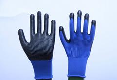 13針滌綸藍紗黑斑馬紋丁腈手套
